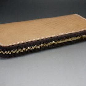 新喜皮革社製オイルコードバンのナチュラル色のラウンドファスナー長財布(ゴールド色)-1-6