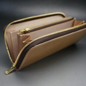 新喜皮革社製オイルコードバンのナチュラル色のラウンドファスナー長財布(ゴールド色)-1-9