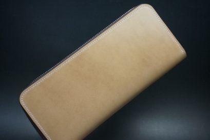 新喜皮革社製オイルコードバンのナチュラル色のラウンドファスナー長財布(シルバー色)-1-1