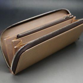 新喜皮革社製オイルコードバンのナチュラル色のラウンドファスナー長財布(シルバー色)-1-10