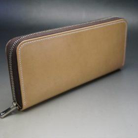 新喜皮革社製オイルコードバンのナチュラル色のラウンドファスナー長財布(シルバー色)-1-2