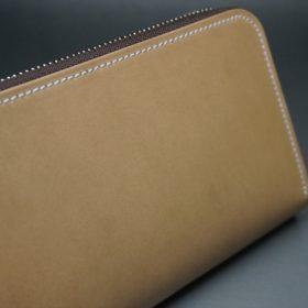 新喜皮革社製オイルコードバンのナチュラル色のラウンドファスナー長財布(シルバー色)-1-3