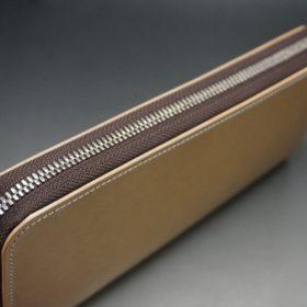 新喜皮革社製オイルコードバンのナチュラル色のラウンドファスナー長財布(シルバー色)-1-5