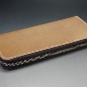 新喜皮革社製オイルコードバンのナチュラル色のラウンドファスナー長財布(シルバー色)-1-6