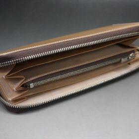新喜皮革社製オイルコードバンのナチュラル色のラウンドファスナー長財布(シルバー色)-1-8