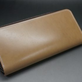 新喜皮革社製オイルコードバンのナチュラル色のラウンドファスナー長財布(シルバー色)-1-9