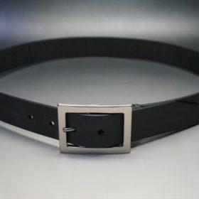 クレイトン社製ブライドルレザーのブラック色のベルト(35mm/cs/lサイズ)-1-10
