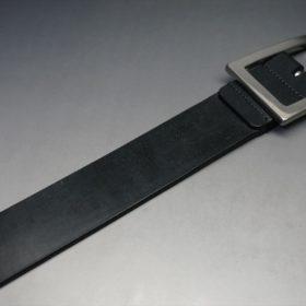 クレイトン社製ブライドルレザーのブラック色のベルト(35mm/cs/lサイズ)-1-6