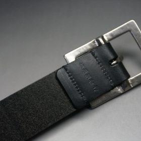 クレイトン社製ブライドルレザーのブラック色のベルト(35mm/cs/mサイズ)-1-7