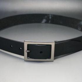 クレイトン社製ブライドルレザーのブラック色のベルト(35mm/cs/sサイズ)-1-11