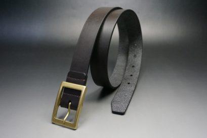クレイトン社製ブライドルレザーのダークブラウン色のベルト(30mm/cg/mサイズ)-1-1