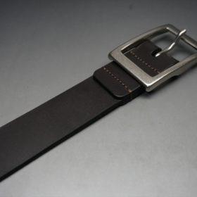 クレイトン社製ブライドルレザーのダークブラウン色のベルト(30mm/cs/sサイズ)-1-6