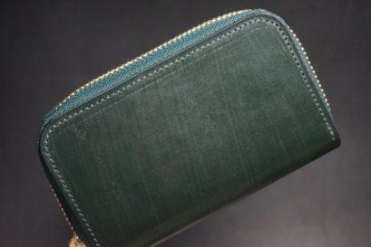 クレイトン社製ブライドルレザーのグリーン色のラウンドファスナー小銭入れ(ゴールド色)-1-1