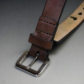 J.ベイカー社製ブライドルレザーのダークブラウン色の30mmベルト(ビジネスB/シルバー色/Mサイズ)-1-2