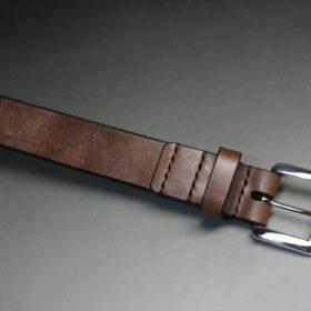 J.ベイカー社製ブライドルレザーのダークブラウン色の30mmベルト(ビジネスB/シルバー色/Mサイズ)-1-4