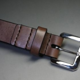 J.ベイカー社製ブライドルレザーのダークブラウン色の30mmベルト(ビジネスB/シルバー色/Mサイズ)-1-5