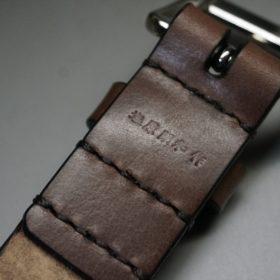 J.ベイカー社製ブライドルレザーのダークブラウン色の30mmベルト(ビジネスB/シルバー色/Mサイズ)-1-8