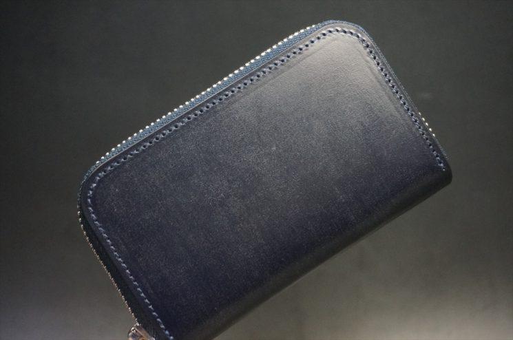 セドウィック社製ブライドルレザーのネイビー色のラウンドファスナー小銭入れ(シルバー色)-1-1