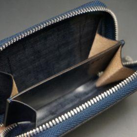 セドウィック社製ブライドルレザーのネイビー色のラウンドファスナー小銭入れ(シルバー色)-1-11