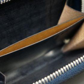 セドウィック社製ブライドルレザーのネイビー色のラウンドファスナー小銭入れ(シルバー色)-1-12