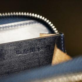 セドウィック社製ブライドルレザーのネイビー色のラウンドファスナー小銭入れ(シルバー色)-1-13