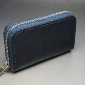 セドウィック社製ブライドルレザーのネイビー色のラウンドファスナー小銭入れ(シルバー色)-1-2