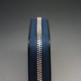 セドウィック社製ブライドルレザーのネイビー色のラウンドファスナー小銭入れ(シルバー色)-1-5