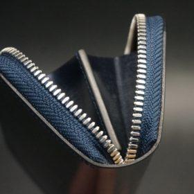 セドウィック社製ブライドルレザーのネイビー色のラウンドファスナー小銭入れ(シルバー色)-1-9