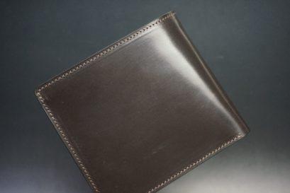 セドウィック社製ブライドルレザーのチョコ色の二つ折り財布(ゴールド色)-1-1