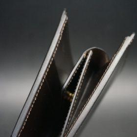 セドウィック社製ブライドルレザーのチョコ色の二つ折り財布(ゴールド色)-1-4