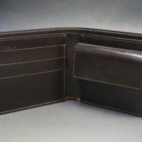 セドウィック社製ブライドルレザーのチョコ色の二つ折り財布(ゴールド色)-1-6