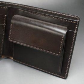 セドウィック社製ブライドルレザーのチョコ色の二つ折り財布(ゴールド色)-1-8