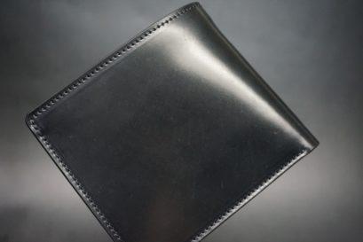 ホーウィン社製シェルコードバンのブラック色の二つ折り財布(ゴールド色)-1-1
