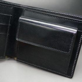ホーウィン社製シェルコードバンのブラック色の二つ折り財布(ゴールド色)-1-10