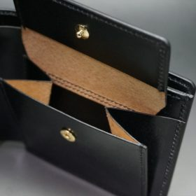 ホーウィン社製シェルコードバンのブラック色の二つ折り財布(ゴールド色)-1-11