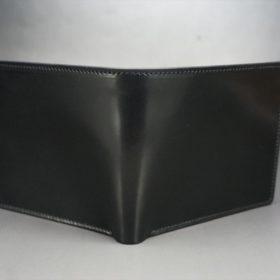 ホーウィン社製シェルコードバンのブラック色の二つ折り財布(ゴールド色)-1-2