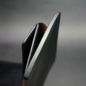 ホーウィン社製シェルコードバンのブラック色の二つ折り財布(ゴールド色)-1-5