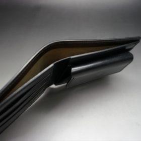 ホーウィン社製シェルコードバンのブラック色の二つ折り財布(ゴールド色)-1-6