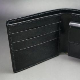 ホーウィン社製シェルコードバンのブラック色の二つ折り財布(ゴールド色)-1-8