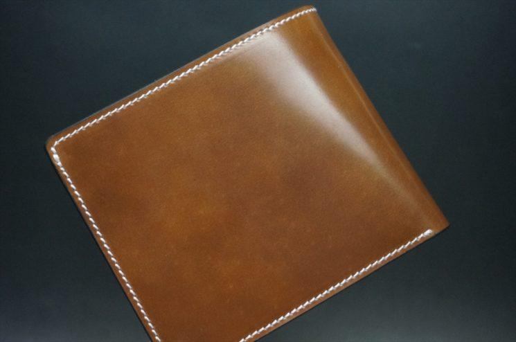 ホーウィン社製シェルコードバンのバーボン色の二つ折り財布(ゴールド色)-2-1