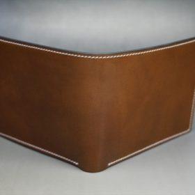 ホーウィン社製シェルコードバンのバーボン色の二つ折り財布(ゴールド色)-2-2