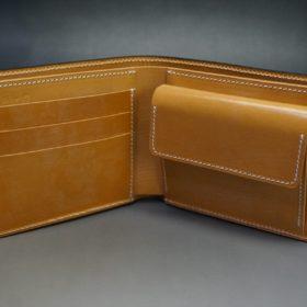 ホーウィン社製シェルコードバンのバーボン色の二つ折り財布(ゴールド色)-2-7