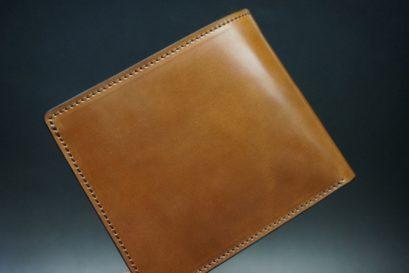 ホーウィン社製シェルコードバンのバーボン色の二つ折り財布(ゴールド色)-3-1