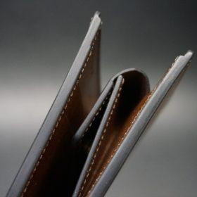 ホーウィン社製シェルコードバンのバーボン色の二つ折り財布(ゴールド色)-3-3