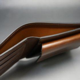 ホーウィン社製シェルコードバンのバーボン色の二つ折り財布(ゴールド色)-3-4