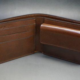 ホーウィン社製シェルコードバンのバーボン色の二つ折り財布(ゴールド色)-3-5