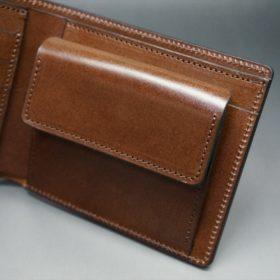 ホーウィン社製シェルコードバンのバーボン色の二つ折り財布(ゴールド色)-3-7