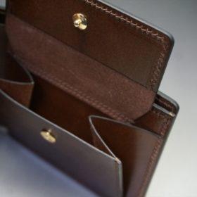 ホーウィン社製シェルコードバンのバーボン色の二つ折り財布(ゴールド色)-3-8