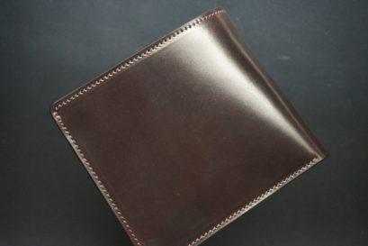 ホーウィン社製シェルコードバンのバーガンディ色の二つ折り財布(ゴールド色)-1-1