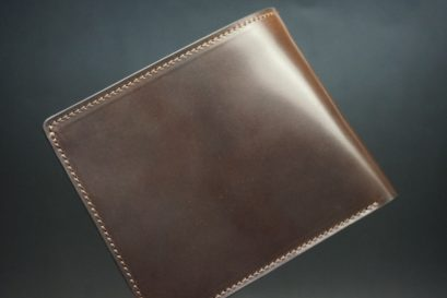 ホーウィン社製シェルコードバンのダークコニャック色の二つ折り財布(ゴールド色)-1-1